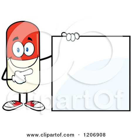 Cartoon of a Happy Pill Mascot Standing by a Sign - Royalty Free Vector Clipart by Hit Toon