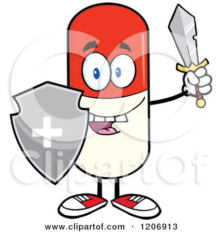 Cartoon of a Happy Pill Mascot with a Sword and Shield - Royalty Free Vector Clipart by Hit Toon