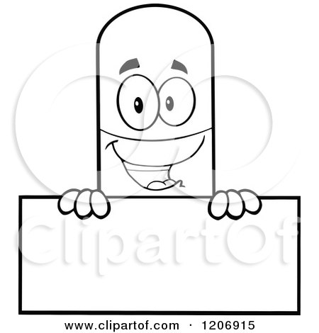 Cartoon of a Black and White Happy Pill Mascot Holding a Sign - Royalty Free Vector Clipart by Hit Toon