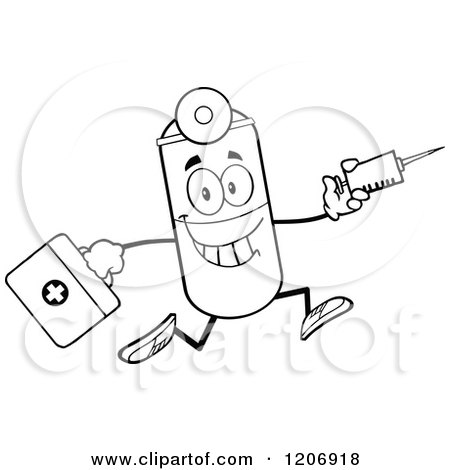 Cartoon of a Black and White Happy Pill Mascot Running with a Syringe and First Aid Kit - Royalty Free Vector Clipart by Hit Toon