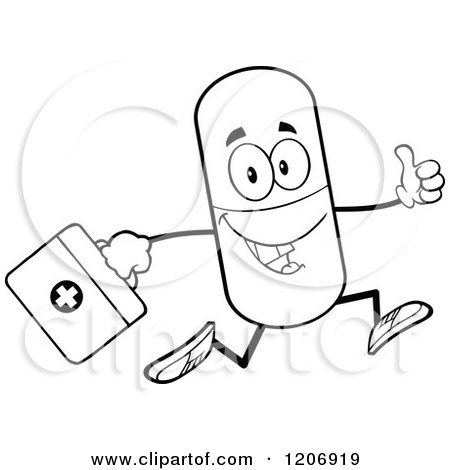Cartoon of a Black and White Happy Pill Mascot Running with a First Aid Kit - Royalty Free Vector Clipart by Hit Toon