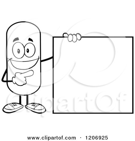 Cartoon of a Black and White Happy Pill Mascot Standing by a Sign - Royalty Free Vector Clipart by Hit Toon