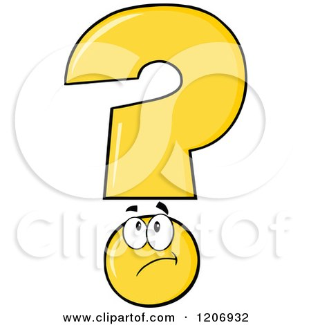 Cartoon of a Thinking Yellow Question Mark Mascot - Royalty Free Vector Clipart by Hit Toon
