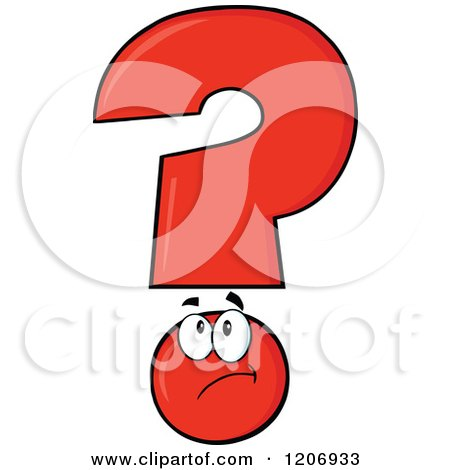 Cartoon of a Thinking Red Question Mark Mascot - Royalty Free Vector Clipart by Hit Toon