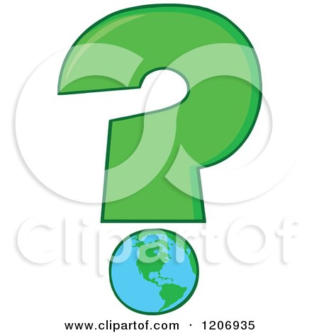 Cartoon of a Green Question Mark with an Earth Globe - Royalty Free Vector Clipart by Hit Toon