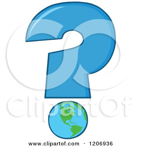 Cartoon of a Blue Question Mark with an Earth Globe - Royalty Free Vector Clipart by Hit Toon