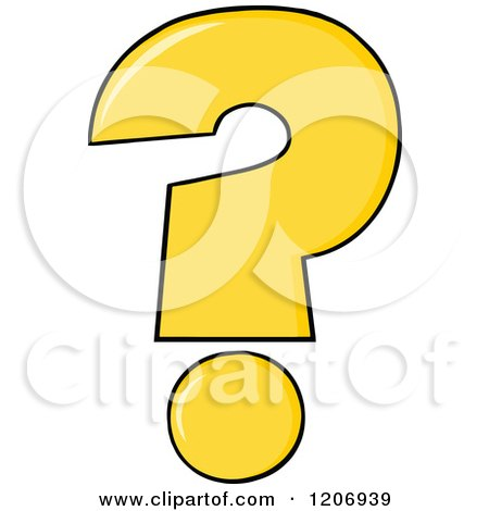 Cartoon of a Yellow Question Mark - Royalty Free Vector Clipart by Hit Toon