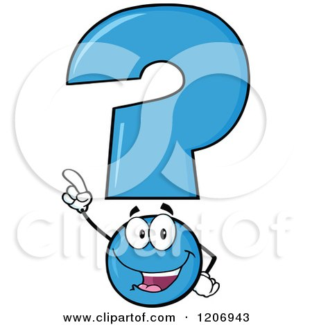 Cartoon of a Happy Pointing Blue Question Mark Mascot - Royalty Free Vector Clipart by Hit Toon