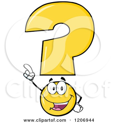 Cartoon of a Happy Pointing Yellow Question Mark Mascot - Royalty Free Vector Clipart by Hit Toon