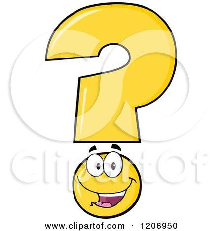 Cartoon of a Happy Yellow Question Mark Mascot - Royalty Free Vector Clipart by Hit Toon