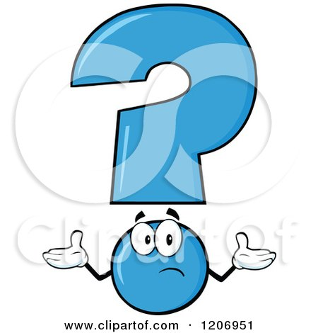 Cartoon of a Shrugging Blue Question Mark Mascot - Royalty Free Vector Clipart by Hit Toon