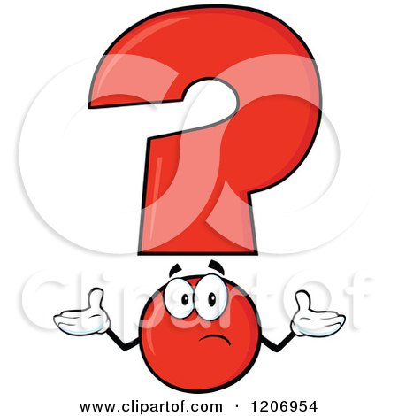 Cartoon of a Shrugging Red Question Mark Mascot - Royalty Free Vector Clipart by Hit Toon