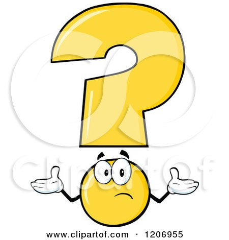 Cartoon of a Shrugging Yellow Question Mark Mascot - Royalty Free Vector Clipart by Hit Toon