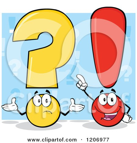 Cartoon of a Shrugging Question Mark and Smart Exclamation Point over Blue - Royalty Free Vector Clipart by Hit Toon