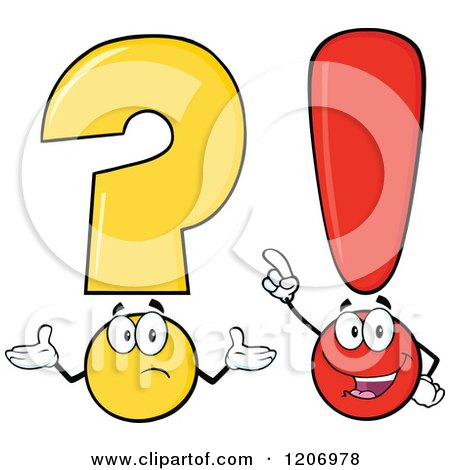 Cartoon of a Shrugging Question Mark and Smart Exclamation Point - Royalty Free Vector Clipart by Hit Toon