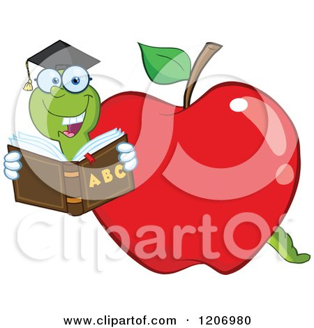 Cartoon of a Bookworm in a School Apple - Royalty Free Vector Clipart by Hit Toon