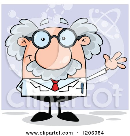 Cartoon of a Happy Scientist Waving over Purple - Royalty Free Vector Clipart by Hit Toon