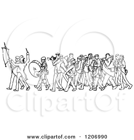 Clipart of a Vintage Black and White Marching Band - Royalty Free Vector Illustration by Prawny Vintage