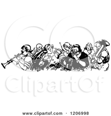 Clipart of a Vintage Black and White Group of Musicians - Royalty Free Vector Illustration by Prawny Vintage