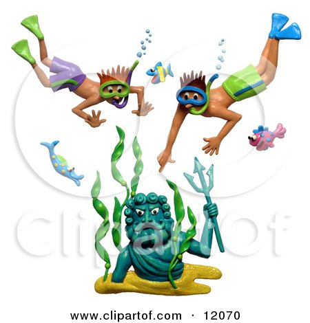 Clay Sculpture Clipart Boys Discovering A Neptune Statue Underwater Royalty Free 3d Illustration
