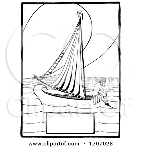 Clipart of a Vintage Black and White Lonely Girl on a Boat with Copyspace - Royalty Free Vector Illustration by Prawny Vintage