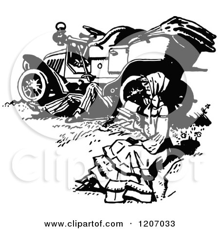 Clipart of a Vintage Black and White Woman Reading While a Man Works Under a Car - Royalty Free Vector Illustration by Prawny Vintage