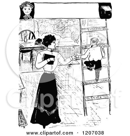 Clipart of a Vintage Black and White Boy Climbing a Success Ladder - Royalty Free Vector Illustration by Prawny Vintage