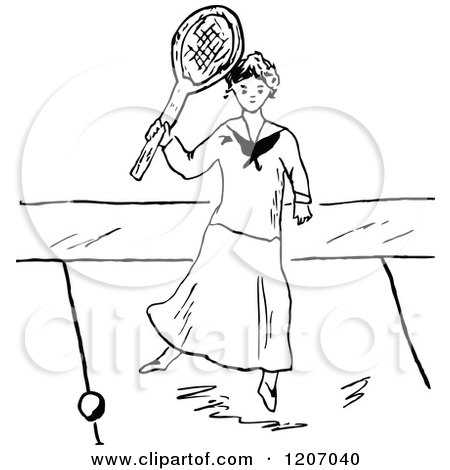 Clipart of a Vintage Black and White Lady Playing Tennis 2 - Royalty Free Vector Illustration by Prawny Vintage