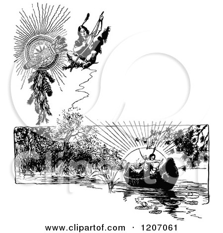 Native Americans Clipart Black And White Clipart of a Vi...