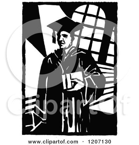 Clipart of a Vintage Black and White College Professor - Royalty Free Vector Illustration by Prawny Vintage