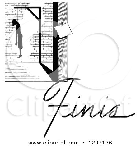 Clipart of a Vintage Black and White Hanged Man and Finis Text - Royalty Free Vector Illustration by Prawny Vintage