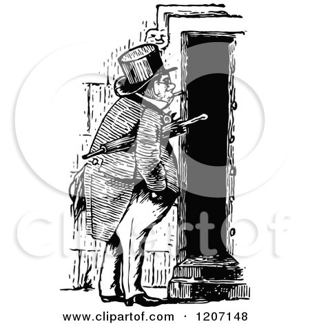 Clipart of a Vintage Black and White Man at a Door - Royalty Free Vector Illustration by Prawny Vintage