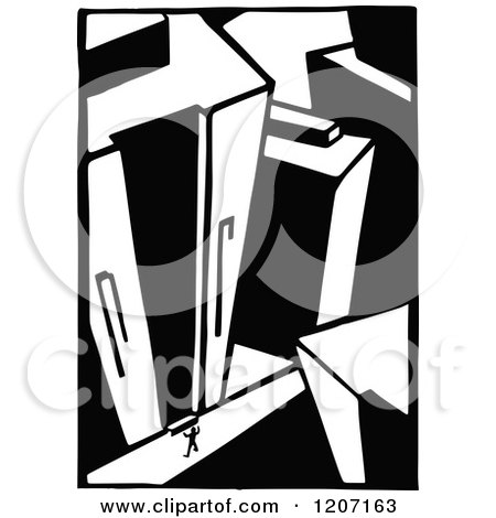 Clipart of a Vintage Black and White Architectural Scene - Royalty ...