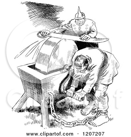 Clipart of a Vintage Black and White Slave and Soldier Sharpening a Sword - Royalty Free Vector Illustration by Prawny Vintage