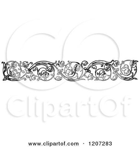 Clipart of a Vintage Black and White Floral Rule Border - Royalty Free Vector Illustration by Prawny Vintage