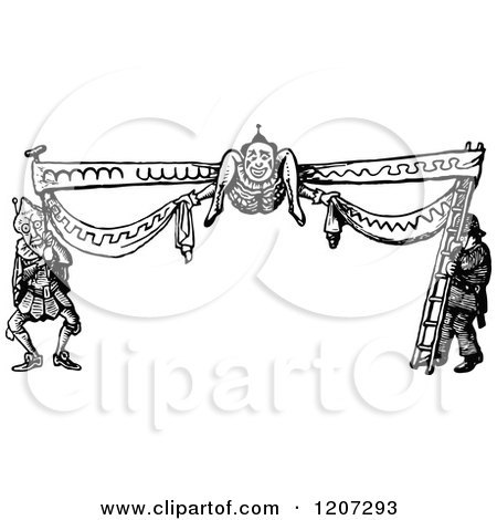 Clipart of a Vintage Black and White Silly Border - Royalty Free Vector Illustration by Prawny Vintage
