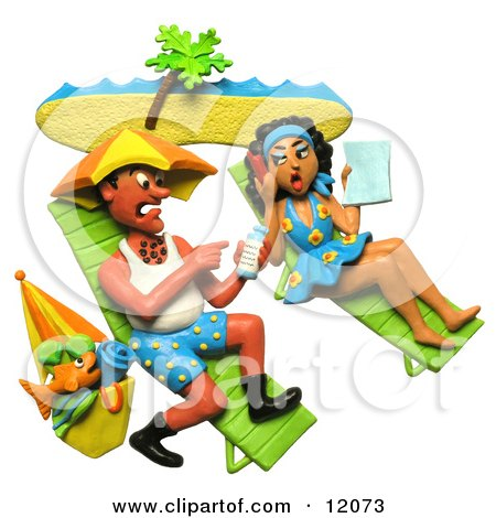 Clay Sculpture Clipart Couple Getting Sun Burnt On A Beach - Royalty Free 3d Illustration  by Amy Vangsgard