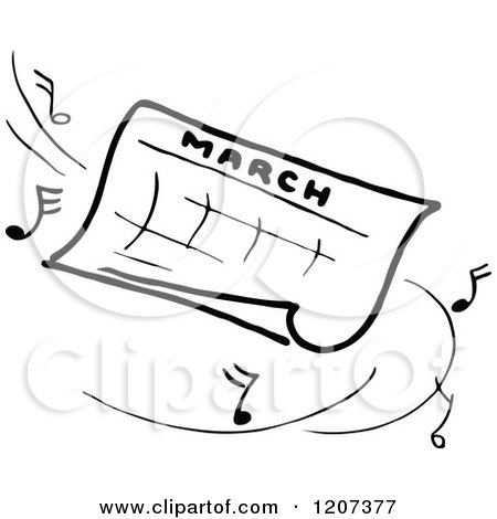 Clipart of a Vintage Black and White March Calendar with Music Notes - Royalty Free Vector Illustration by Prawny Vintage