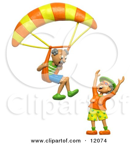 3d Retired Man About To Land His Parachute On His Wife Posters, Art Prints