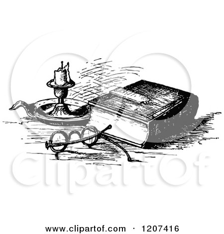 Clipart of a Vintage Black and White Bible with Glasses and a Candle - Royalty Free Vector Illustration by Prawny Vintage