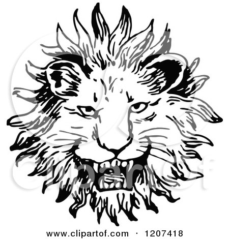 Clipart of a Vintage Black and White Lion Face - Royalty Free Vector Illustration by Prawny Vintage