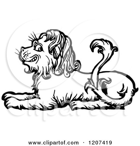 Clipart of a Vintage Black and White Resting Lion - Royalty Free Vector Illustration by Prawny Vintage