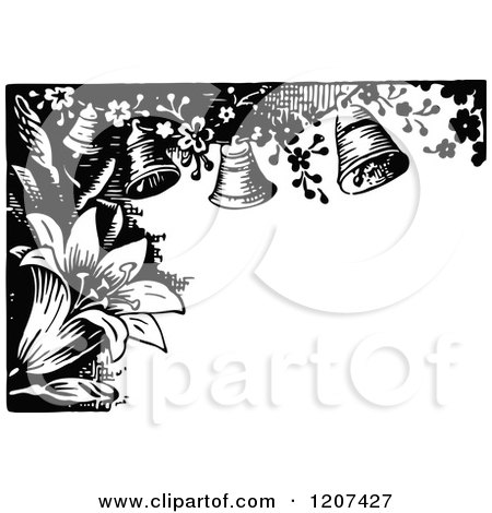 Clipart of a Vintage Black and White Lily and Bell Border - Royalty Free Vector Illustration by Prawny Vintage