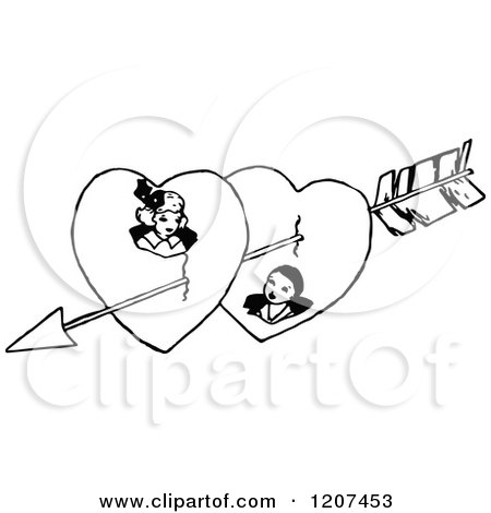 Clipart of a Vintage Black and White Cupids Arrow Through a Couple in Hearts - Royalty Free Vector Illustration by Prawny Vintage