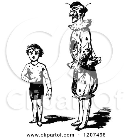 Clipart of a Vintage Black and White Circus Boy and Clown - Royalty Free Vector Illustration by Prawny Vintage