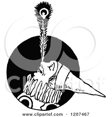 Clipart of a Vintage Black and White Clown Balancing a Feather on His Nose - Royalty Free Vector Illustration by Prawny Vintage