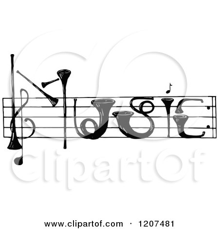 Clipart of Vintage Black and White Instruments Spelling Music - Royalty Free Vector Illustration by Prawny Vintage