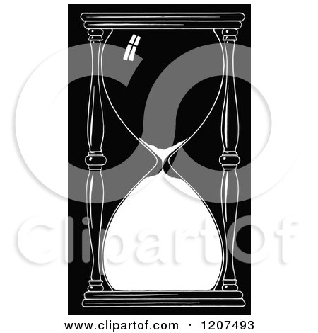 Clipart of a Vintage Black and White Hourglass Timer ...