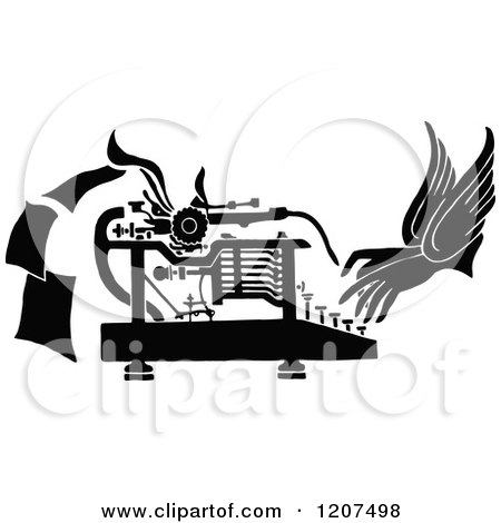 Vintage Black and White Pair of Hands Working a Typewriter Posters, Art Prints