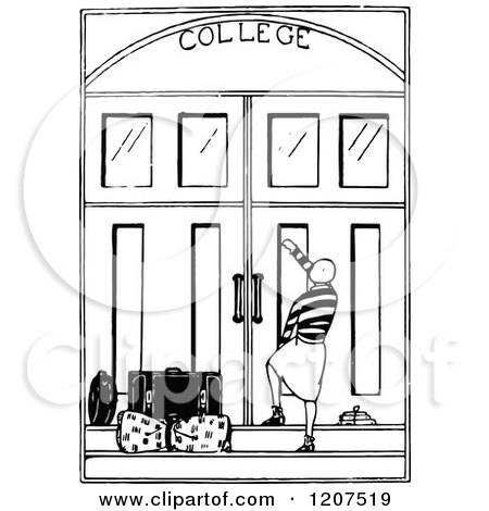 Clipart of a Vintage Black and White College Student and ...